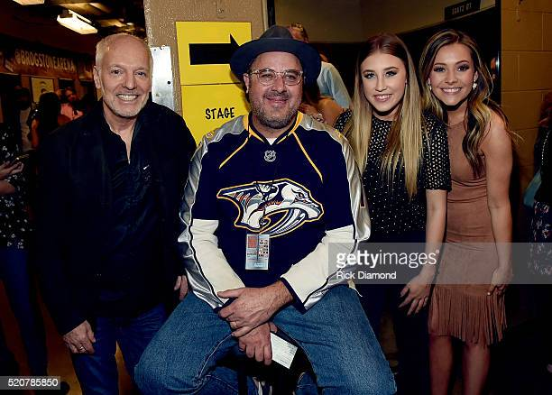 Peter Frampton Vince Gill and Madison Marlow and Taylor Dye of Maddie Tae attend All For The Hall at the Bridgestone Arena on April 12 2016 in...