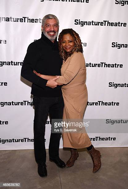 Peter Francis James and Tonya Pinkins attend 'The Liquid Plane' Opening Night Party at Signature Theatre Company's The Pershing Square Signature...