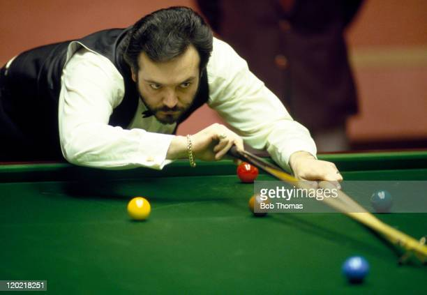 Peter Francisco of South Africa playing in the World Snooker Championships at the Crucible in Sheffield circa April 1988