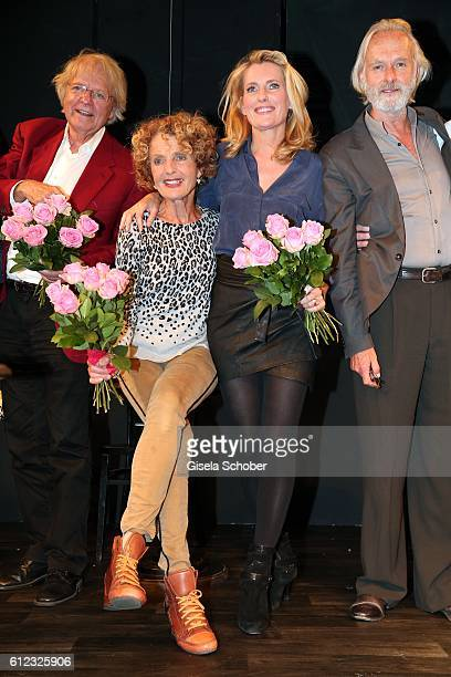 Peter Fricke Kathrin Ackermann Maria Furtwaengler and Siemen Ruehaak during the 'Gluecklich die Gluecklichen' premiere at Komoedie im Bayerischen Hof...