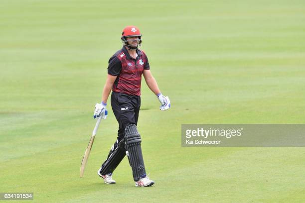Peter Fulton of Canterbury looks dejected after being dismissed by Luke Woodcock of Wellington during the Ford Trophy match between Canterbury and...
