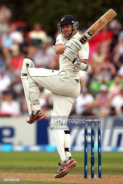 Peter Fulton of New Zealand bats on day three of the First Test match between New Zealand and England at University Oval on March 8 2013 in Dunedin...