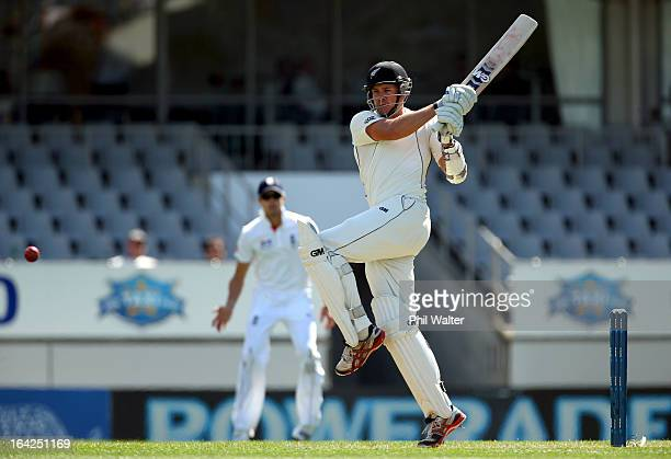 Peter Fulton of New Zealand hits a four during day one of the Third Test match between New Zealand and England at Eden Park on March 22 2013 in...