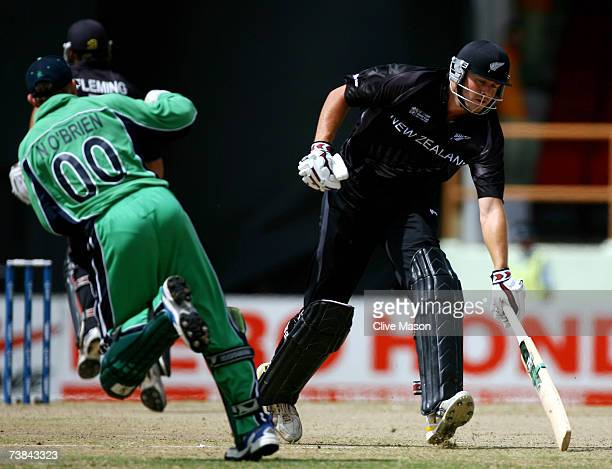 Peter Fulton of New Zealand makes his ground during the ICC Cricket World Cup Super Eights match between Ireland and New Zealand at the Guyana...
