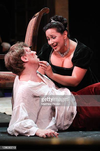"""Peter Furlong performs the role of Mario Cavaradossi and Kristin Sampson performs the role of Tosca in """"Tosca"""" performed on Opening Night at the..."""