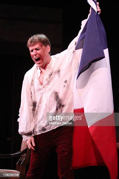 """Peter Furlong performs the role of Mario Cavaradossi in """"Tosca"""" perform on Opening Night at the Dicapo Opera Theatre on October 4, 2011 in New York..."""