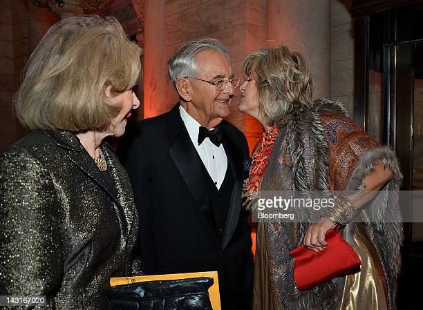 Peter G Peterson cofounder of Blackstone Group Ltd and chairman of the Peter G Peterson Foundation center and Joan Ganz Cooney former chief executive...