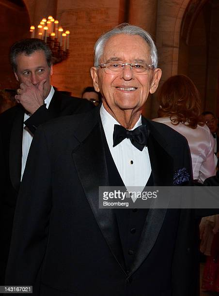 Peter G Peterson cofounder of Blackstone Group Ltd and chairman of the Peter G Peterson Foundation stands for a photograph at the Municipal Art...