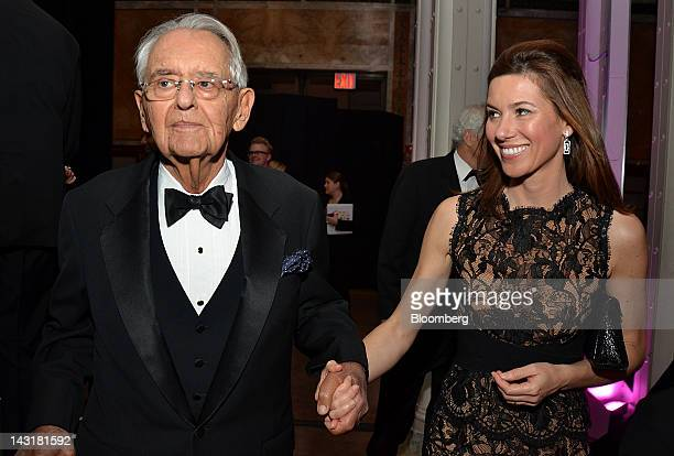 Peter G Peterson cofounder of Blackstone Group Ltd and chairman of the Peter G Peterson Foundation left and guest attend the Municipal Art Society...