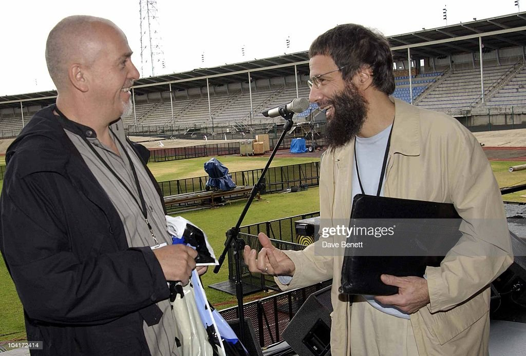 Peter Gabrie And Yusuf Islam, The Stars Of Rock And Roll Join Forces For Nelson Mandela's 46664 Concert In Cape Town, South Africa. In The Pre, Concert Build Up, This Morning Peter Gabriel, Met Yusuf Islam During Rehursals At The Green Point Stadium Cape
