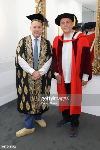 Peter Gabriel and Jony Ive attend the Royal College Of Art convocation ceremony at the RCA and Albert Hall on June 29 2018 in London England