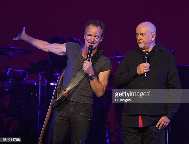 Peter Gabriel and Sting perform during the Rock Paper Scissors North American Tour at Key Arena on July 21 2016 in Seattle Washington