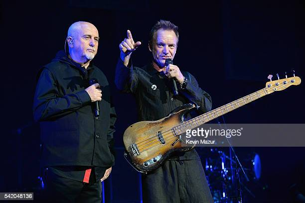 Peter Gabriel and Sting perform on stage during the 'Rock Paper Scissors' tour opener at Nationwide Arena on June 21 2016 in Columbus Ohio