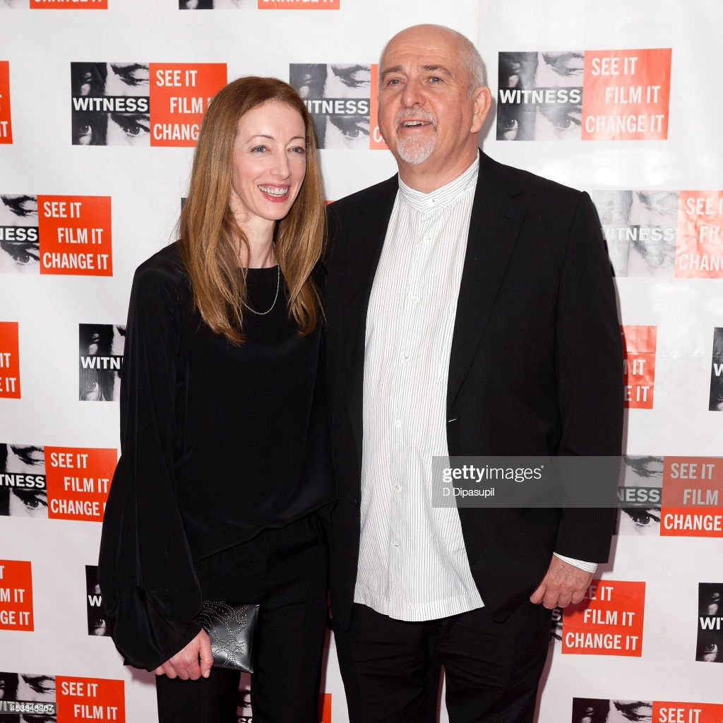 Peter Gabriel (R) and wife Meabh Flynn attend the 2013 Focus For Change gala benefiting WITNESS at Roseland Ballroom on December 5, 2013 in New York City.
