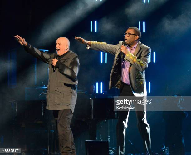 Peter Gabriel and Youssou N'Dour perform onstage at the 29th Annual Rock And Roll Hall Of Fame Induction Ceremony at Barclays Center of Brooklyn on...