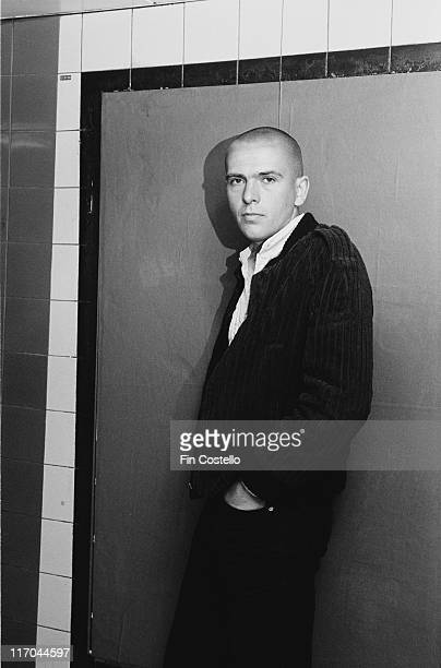 Peter Gabriel British singersongwriter and musician poses shaven head at Chancery Lane underground station in London England Great Britain 1978...