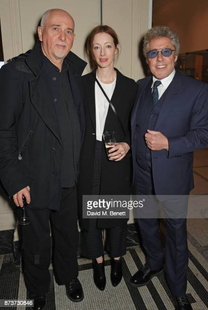 Peter Gabriel Meabh Flynn and Roger Daltrey attend the unveiling of The Adoration Trilogy Searching For Apollo by Alistair Morrison hosted by Roger...