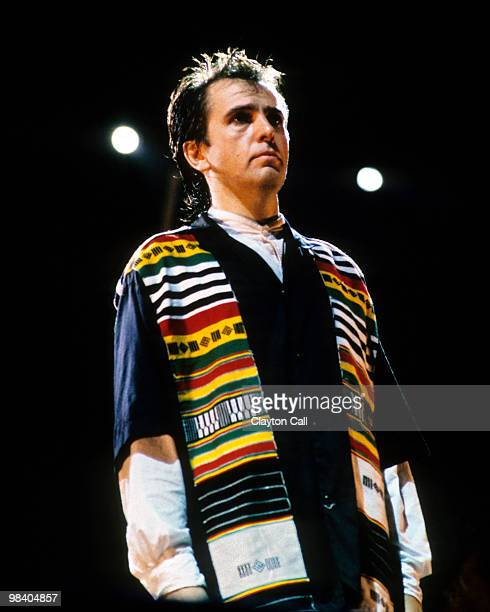 Peter Gabriel performing at the Amnesty International benefit concert at the Oakland Coliseum Stadium on September 23 1988