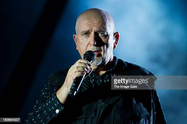Peter Gabriel performs during his 'So' Back To Front tour at the Arena on October 8 2013 in Geneva Switzerland