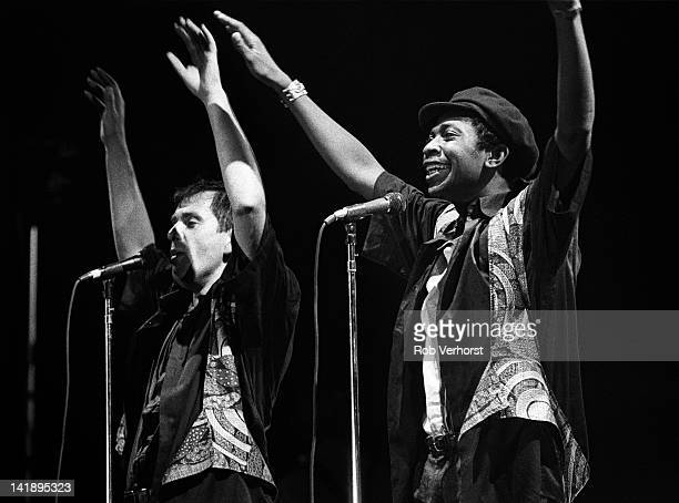 Peter Gabriel performs on stage with Youssou N Dour on Gabriel's This Way Up Tour Ahoy Rotterdam Netherlands 8th September 1987