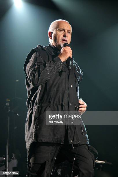 Peter Gabriel performs on the opening night of the North American leg of his 'Back to Front' Tour at the Wells Fargo Center on September 21 2012 in...