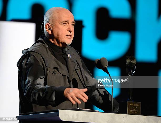 Peter Gabriel speaks onstage at the 29th Annual Rock And Roll Hall Of Fame Induction Ceremony at Barclays Center of Brooklyn on April 10 2014 in New...