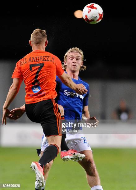Peter Gal Andrezly Tom Davies reacts during the UEFA Europa League Qualifier between MFK Ruzomberok and Everton on August 3 2017 in Ruzomberok...