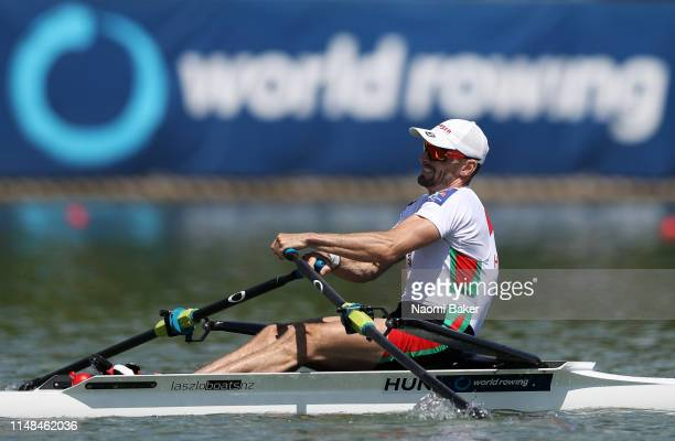 Peter Galambos of Hungary rows to victory in the Lightweight Men's Single Sculls Day Two of the World Rowing Cup 1 on May 11, 2019 in Plovdiv,...
