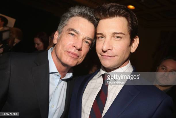 Peter Gallagher and Andy Karl pose at the opening night after party for the musical based on the film Groundhog Day on Broadway at Gotham Hall on...