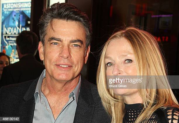 Peter Gallagher and wife Paula Wildash pose at The Opening Night of The Real Thing on Broadway at American Airlines Theatre on October 30 2014 in New...