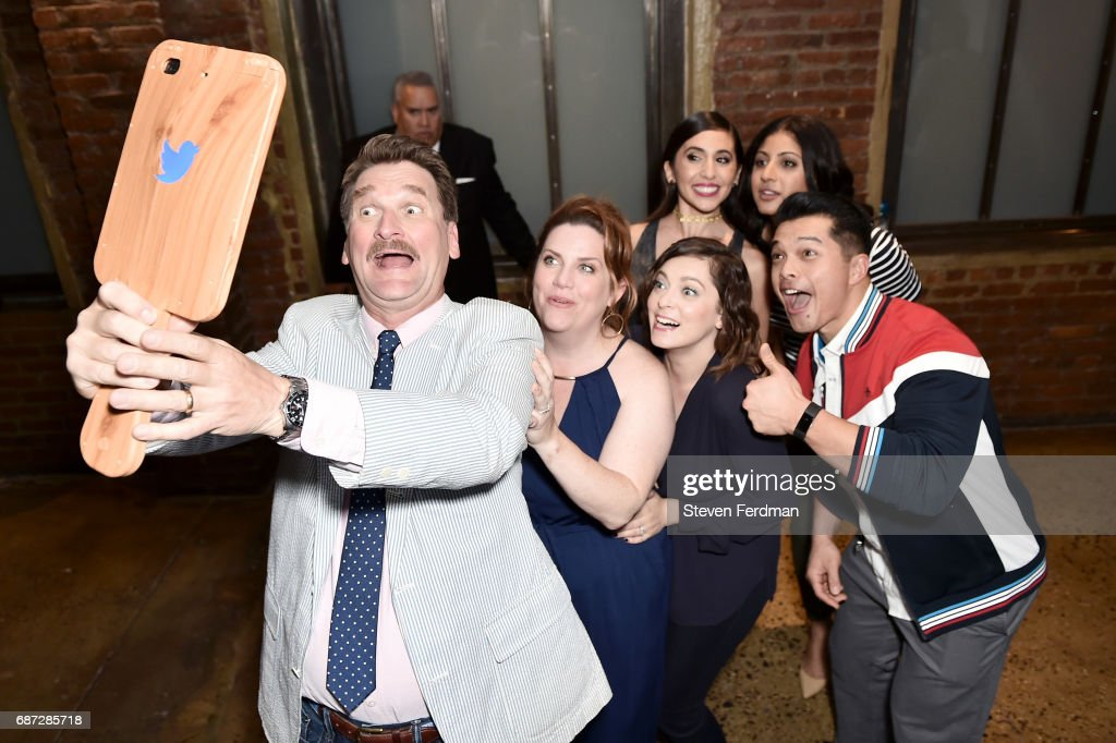 Peter Gardner, Donna Lynne Champlin, Rachel Bloom, Gabrielle Ruiz, Vincent Rodriguez III and Vella Lovell take a selfie at the Pop Culture Triva Game Show during Vulture Festival at Milk Studios on May 21, 2017 in New York City.
