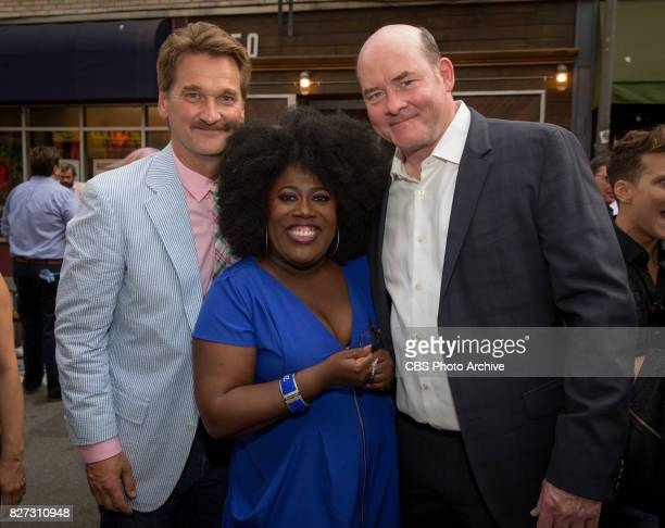 Peter Gardner Sheryl Underwood and David Kouchner pose for a photograph at the CBS Summer soirée for the annual TCA press tour held on August 1 2017...