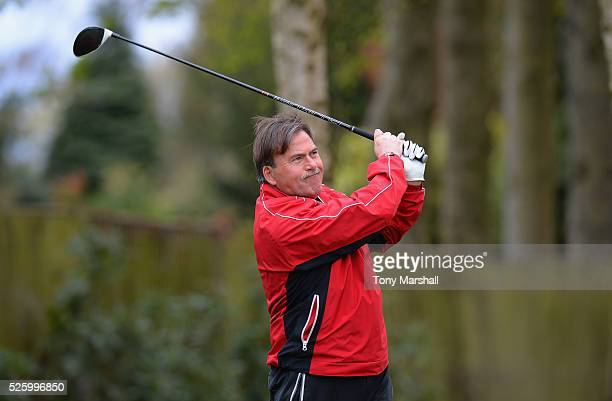 Peter Garratt of Naunton Downs Golf Club plays his first shot on the 1st tee during the PGA Professional Championship Midland Qualifier at Little...