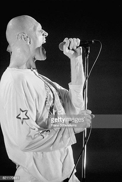 Peter Garrett, vocal, performs with Midnight Oil on November 7th 1993 at Vredenburg in Utrecht, Netherlands.