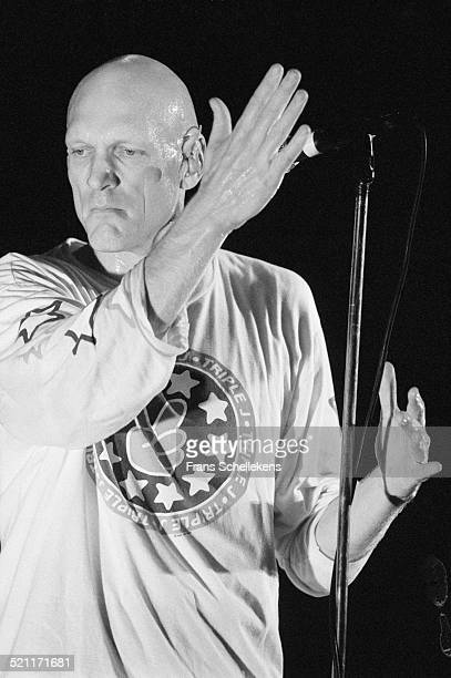 Peter Garrett, vocal, performs with Midnight Oil on November 7th 1993 at Vredenburg in Utrecht, Netherlands.