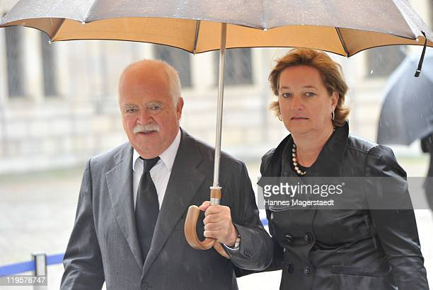 Peter Gauweiler and his wife Eva attend the funeral ceremony for Leo Kirch at Residenz on July 22, 2011 in Munich, Germany. Leo Kirch, who built one...