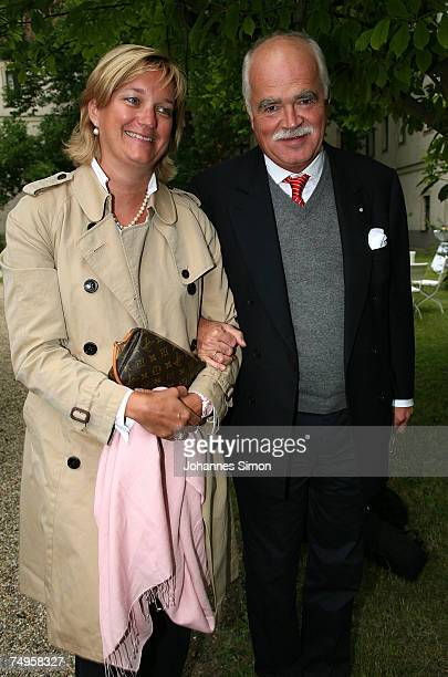 Peter Gauweiler and his wife Eva attend the operetta 'Weisses Roessl' at the Thurn und Taxis castle festival on June 29 in Regensburg, Germany.