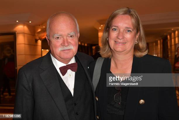 "Peter Gauweiler and his wife Eva Gauweiler at the opening of the ""Palais Keller"" at Hotel Bayerischer Hof on October 23, 2019 in Munich, Germany."
