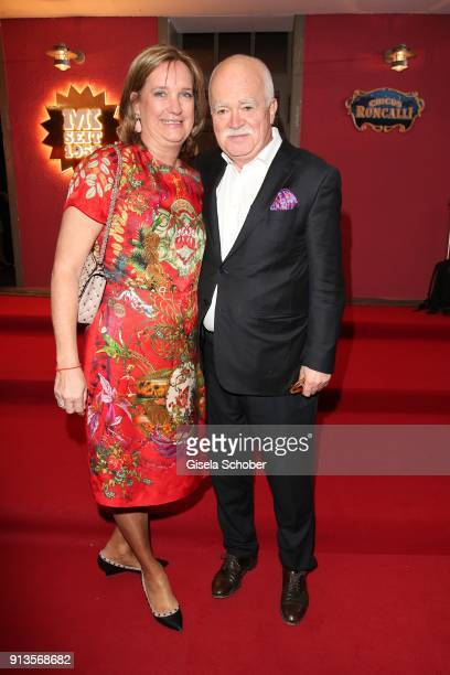 Peter Gauweiler and his wife Eva Gauweiler during Michael Kaefer's 60th birthday celebration at Postpalast on February 2, 2018 in Munich, Germany.