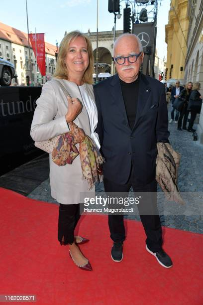 "Peter Gauweiler and his wife Eva Gauweiler during the Mercedes-Benz reception at ""Klassik am Odeonsplatz"" on July 14, 2019 in Munich, Germany."
