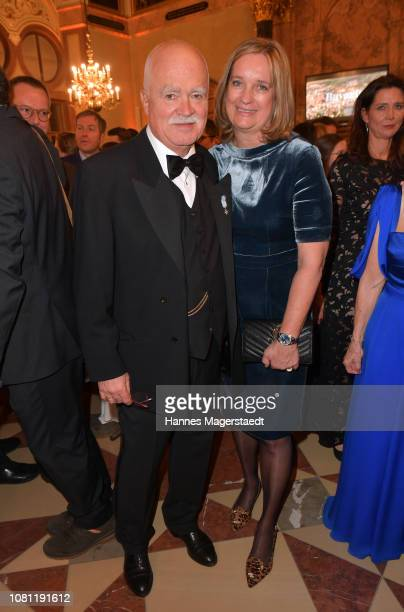 Peter Gauweiler and his wife Eva Gauweiler during the new year reception of the Bavarian state government at Residenz on January 11, 2019 in Munich,...