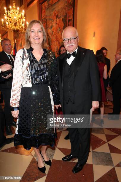 Peter Gauweiler and his wife Eva Gauweiler during the new year reception of the Bavarian state government at Residenz on January 10, 2020 in Munich,...