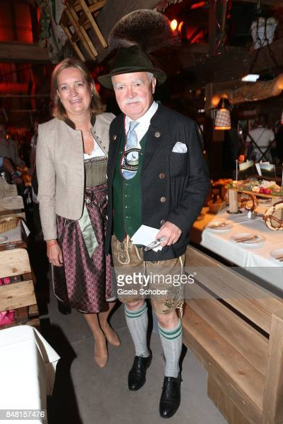 Peter Gauweiler and his wife Eva Gauweiler during the opening of the Oktoberfest 2017 at Kaeferschaenke at Theresienwiese on September 16, 2017 in...