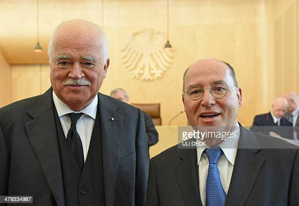 Peter Gauweiler member of the conservative Chrisitan Social Union and Gregor Gysi parliamentary group leader of the leftwing Die Linke party are...