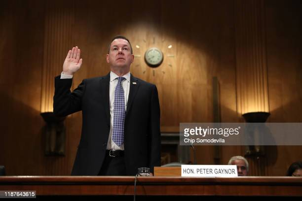 Peter Gaynor is sworn in before the Senate Homeland Security and Governmental Affairs Committee during his confirmation hearing to be the next...