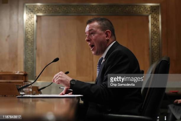 Peter Gaynor testifies before the Senate Homeland Security and Governmental Affairs Committee during his confirmation hearing to be the next director...