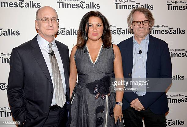 Peter Gelb Anna Netrebko and Bartlett Sher attend TimesTalks at Times Center on September 18 2015 in New York City