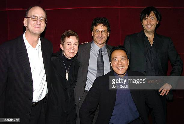 Peter Geld Dean Elizabeth M Daley Dean Robert A Cutietta YoYo Ma and Andrea Morricone at a reception after a concert with YoYo Ma featuring the film...