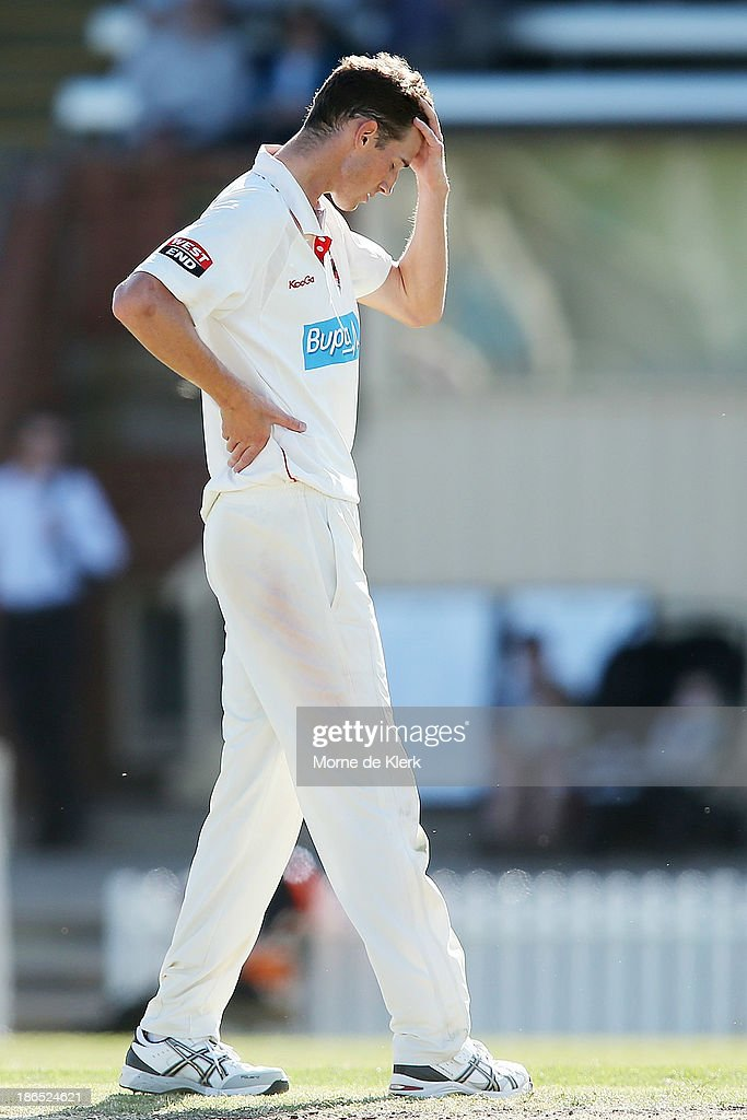Peter George of the Redbacks reacts during day three of the Sheffield Shield match between the South Australia Redbacks and the Queensland Bulls at Glenelg Oval on November 1, 2013 in Adelaide, Australia.