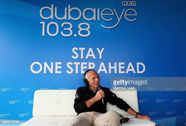 Peter German Tournament Director talks to the presenters of Dubai Eye during day one of the Abu Dhabi HSBC Championship at Abu Dhabi Golf Club on...